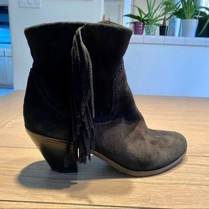 Sam Edelman Black Suede Leather Fringe Bootie 7.5
